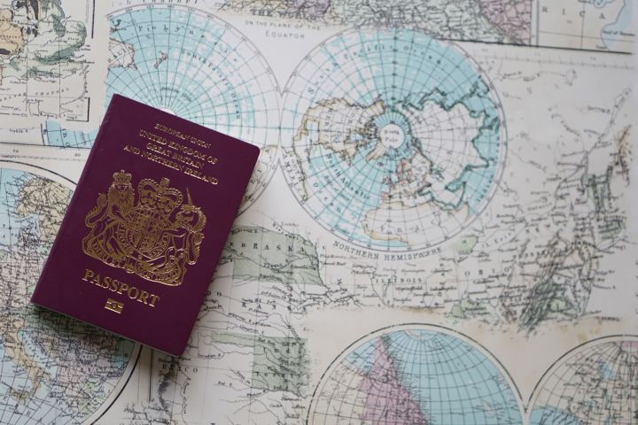 Passport on Map of the World
